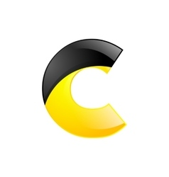 Creative yellow and black symbol letter C for your vector image