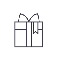 giftbox line icon sign on vector image