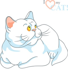 white cat with yellow eyes lying vector image