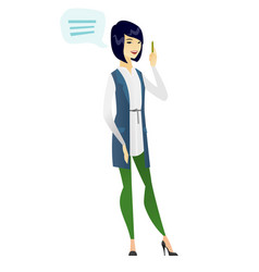 young asian business woman with speech bubble vector image vector image