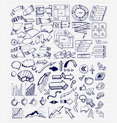 mega collection of hand drawn arrow charts vector image vector image
