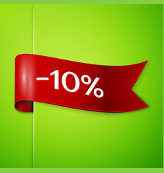red ribbon with text ten percent for discount vector image vector image
