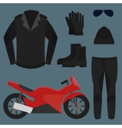 Set biker apparel vector