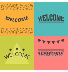Welcome postcards collection Decorative elements vector image