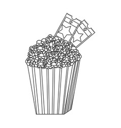 grayscale contour of popcorn container with movie vector image vector image