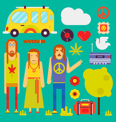 hippie culture style characters and symbols vector image