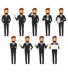 set of businessman character design male in suit vector image