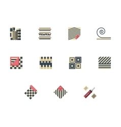 Set of linoleum services flat color icons vector image vector image
