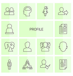 14 profile icons vector image