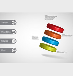 3d infographic template with four cylinders askew vector