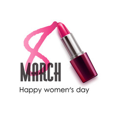 8 march international women day lipstick pomade vector