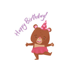 adorable girl bear in party hat and happy birthday vector image