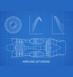 Airplane jet engine with turbine blueprint vector