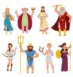 Ancient greek gods cartoon characters vector
