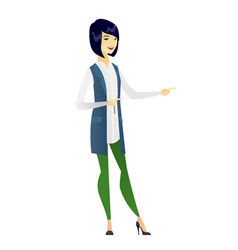 asian business woman pointing to the side vector image