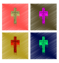Assembly flat shading style icon cross the blood vector