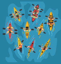 Athletes paddling kayaks set kayaking water sport vector