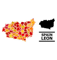 Autumn leaves - mosaic map leon province vector