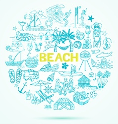 Beach doodle style icon set vector