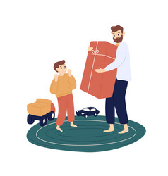 bearded father hold big gift box for cute son vector image