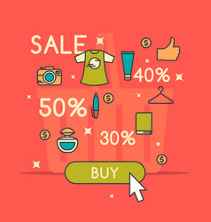 Best sale in cartoon style vector