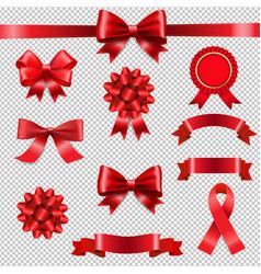 big set ribbon bow transparent background vector image