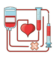 Blood donation and transfusion tools vector