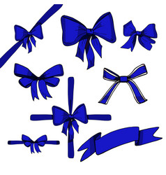 blue bow set vector image