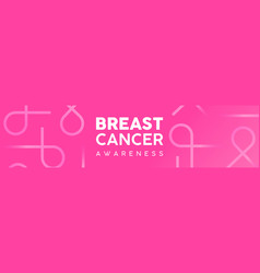 Breast cancer awareness pink ribbon web banner vector