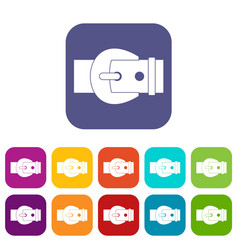 Buckle icons set flat vector