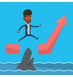 Businessman jumping over ocean with shark vector