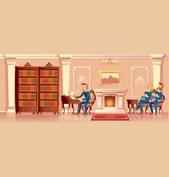 Cartoon living room with gentlemen company vector