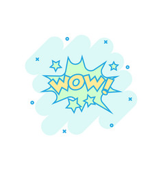 Cartoon wow comic sound effects icon in comic vector