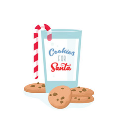 chocolate cookies for santa and glass milk vector image