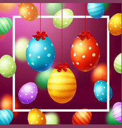 colorful eggs happy easter vector image