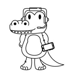 Cute little crocodrile character vector
