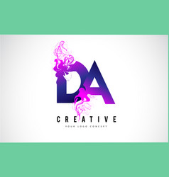 Da d a purple letter logo design with liquid vector