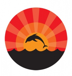 dolphin frame vector image