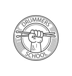 Drummers school emblem vector