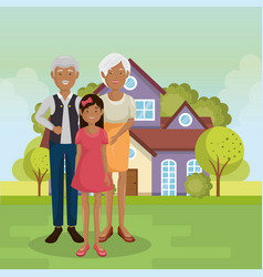 Family members outside of the house vector