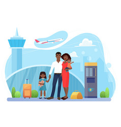 Family people travel airline transportation vector