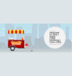 fast food cart on backdrop big city template vector image