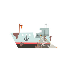 fishing boat trawler for industrial seafood vector image