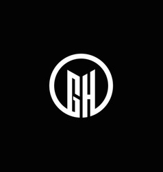 gh monogram logo isolated with a rotating circle vector image