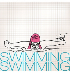 Girl swimming in butterfly stroke style vector