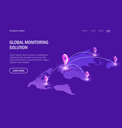global monitoring system global communications vector image
