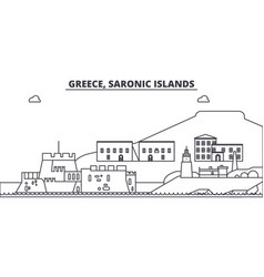 Greece saronic islands line skyline vector