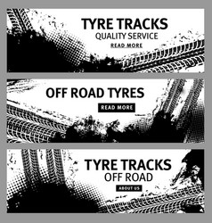 grunge banners tire tracks offroad tyre prints vector image