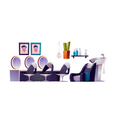 hair salon interior with hairdresser chairs vector image