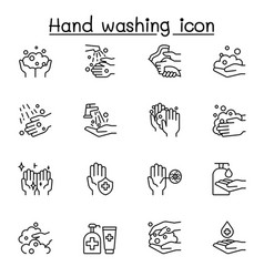hand washing icon set in thin line style vector image